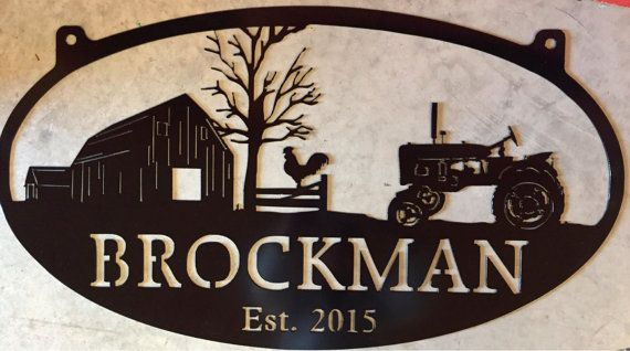 Personalized Metal Sign with  barn and chicken and tractor scene customized with your name
