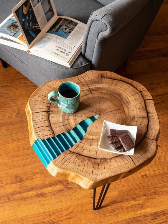 Zebre Table Basse Twin Avec Eclatante En Resine Fill In Coffee Table Wood Table Design Blue Shades Colors