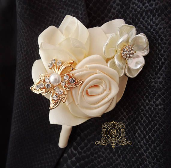 Champagne brooch boutonniere. Rosegold wedding groom and groomsmen flower pocket pin Corsages, bridesmaids bouquets and bridal bouquets that shown on the pics in this listing are just a sample o matching items. This listing includes only bridesmaids bouquet. Shipping free if ordered