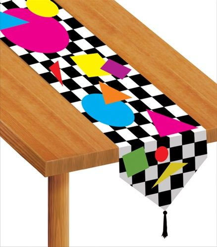 A unique decoration that is sure to add just what you're looking for, our Awesome 80s Party Decorative Table Runner is printed with that familiar black and white checkered pattern, and many neon shapes, giving it a gnarly nu wave look.  Measures 6 feet long, by 11 inches wide, and has black tassels pre-installed at each end.  Sold individually.