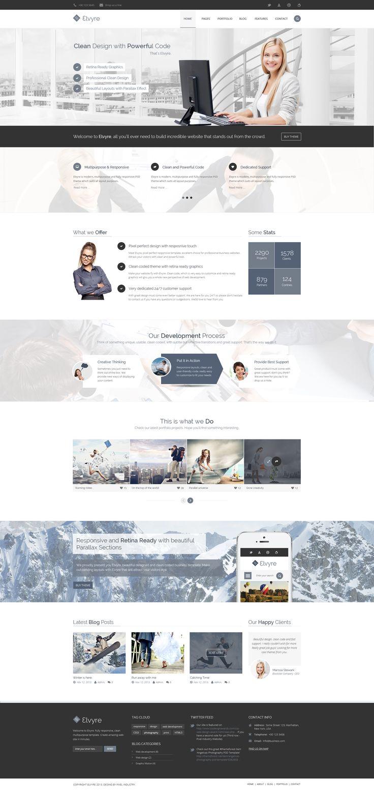 Elvyre Professional Corporate PSD Template by pixel-industry.deviantart.com on @deviantART