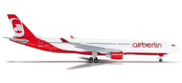 This Herpa 1:500 Air Berlin Airbus 330-300 model airplane is made of Die-Cast Metal.