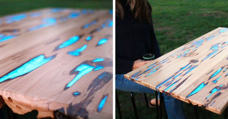 Back in August, industrial designer Mat Brown shared a method for creating wood shelves inlaid with glow-in-the-dark resin. Not to be outdone, Mike Warren just released a tutorial of how to fill the naturally formed voids in pecky cypress with photoluminescent powder mixed with clear casting