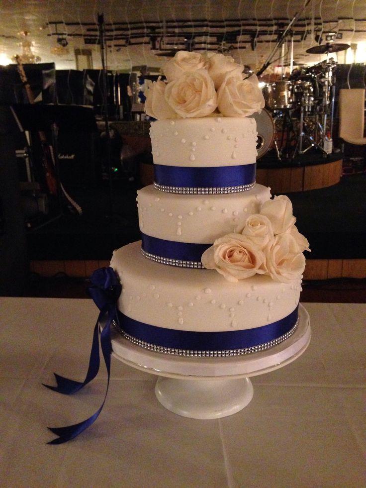 Royal Blue Ribbon With White Roses Sweet 16 Birthday Cake
