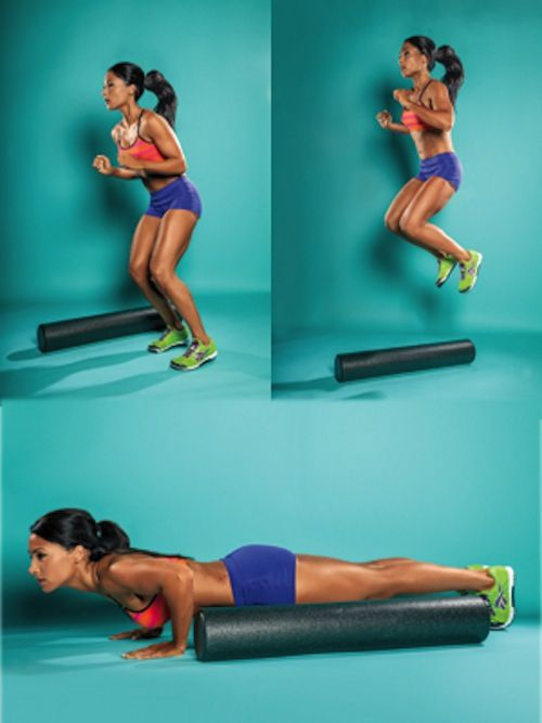 woman doing a side hop to burpee exercise with a foam roller