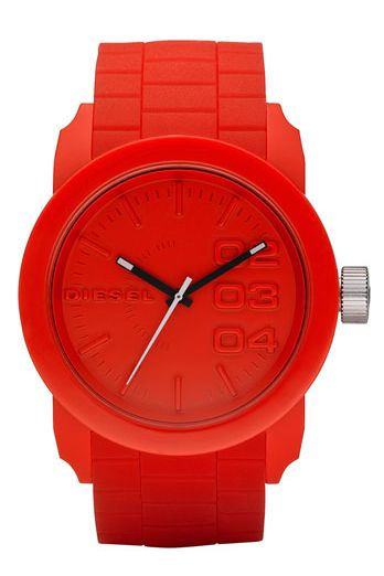 STYLE LAB: All things red, white & blue! Diesel Silicone Strap Round Watch. $100
