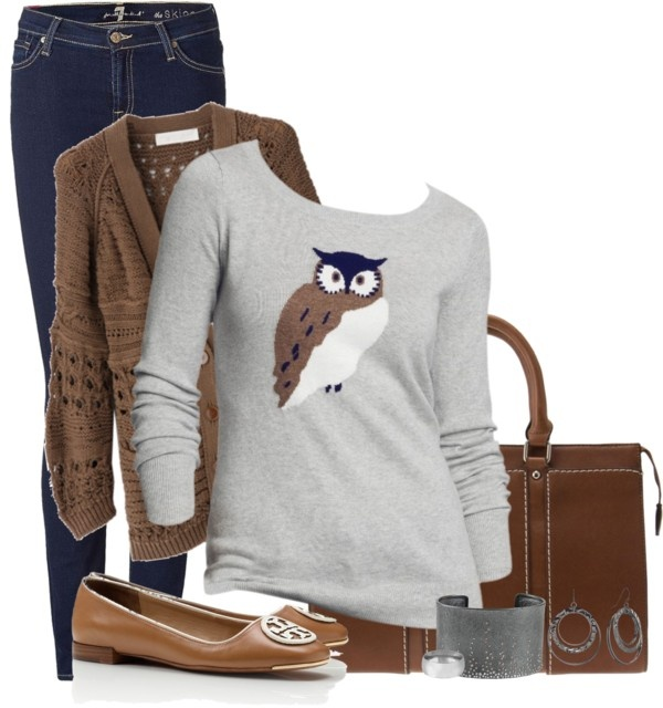 Grey and Brown by ohmeejean on Polyvore