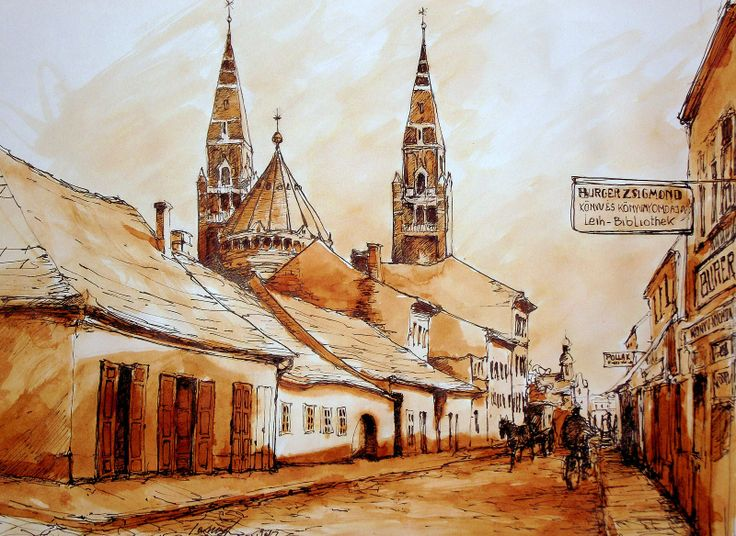Szeged a régi Oskola utca .. Szeged is the old street Oskola.. Tus, diófapác , karton 29 x 42 cm