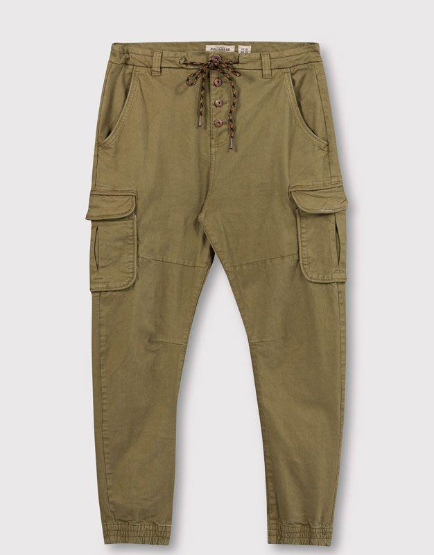 Pull&Bear - homme - pantalons - pantalon style battle - kaki - 05684573-V2016
