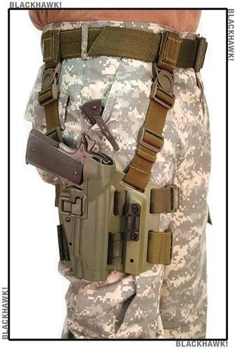 Mouse over image to zoom  Sell one like this  BlackHawk Tactical SERPA Leg Holster Level 2 Right Hand COLT 1911 Olive Drab