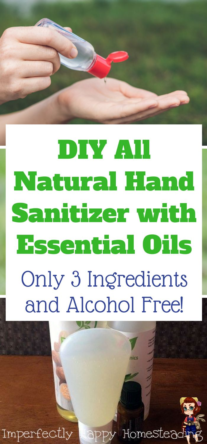 DIY All Natural Hand Sanitizer with Essential Oil. Only 3 Ingredients and alcohol free!