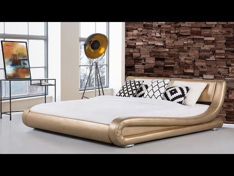 Franciaágy - Arany szín - 160x200 cm - Bőr ágy - AVIGNON