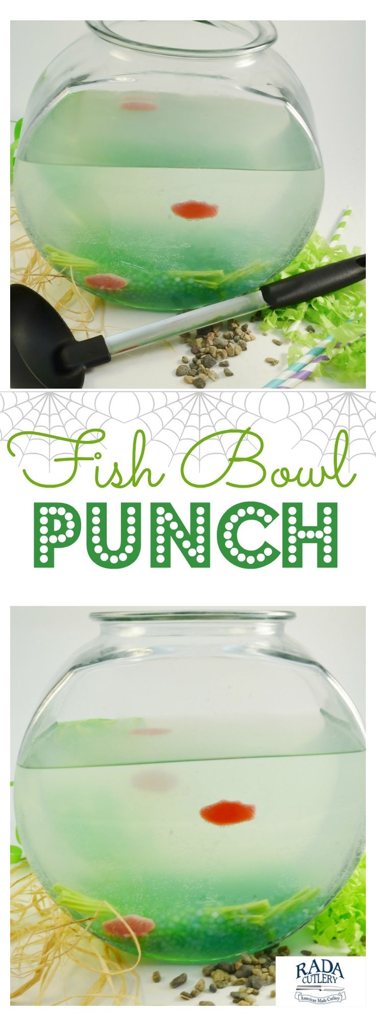Don't throw another party without first making this delightful Fish Bowl Punch! This fabulous drinkable treat is easy to make and will grab the attention of all your guests. Kids and adults alike will just love it! #Halloween #punch #party