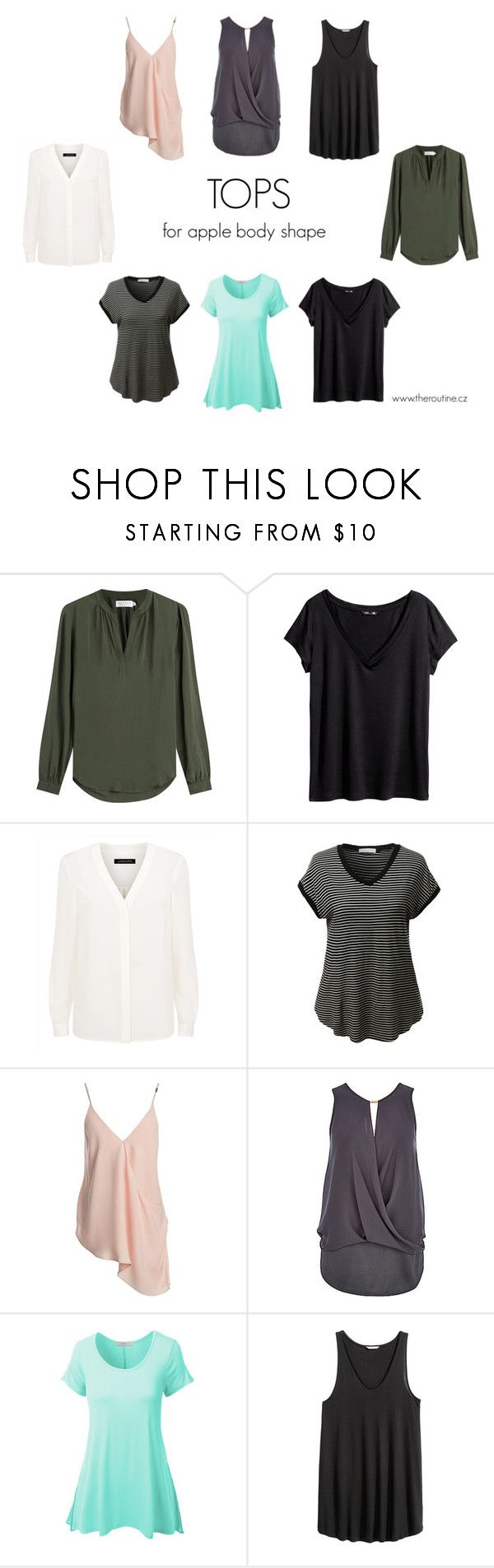 """""""TOPS FOR APPLE BODY SHAPE"""" by kristina-mihalkova ❤ liked on Polyvore featuring Velvet, H&M, Jaeger, LE3NO and Sans Souci"""