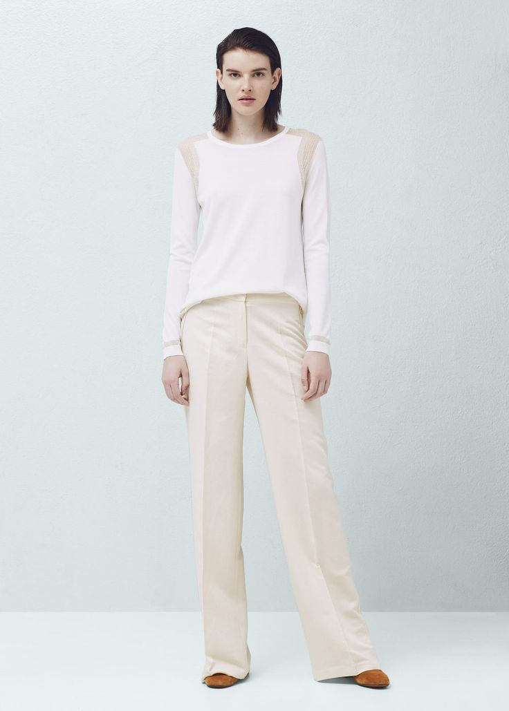 Linen palazzo trousers - Trousers for Woman | MANGO South Africa