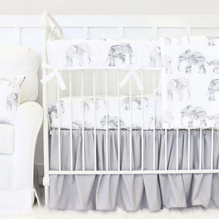 Gray Marbled Elephant and white crib bedding with gray gathered skirt