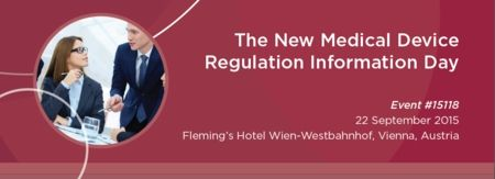 The New Medical Device Regulation Information Day at Fleming's Hotel Wien-Westbahnhof, Neubauguertel 26-28, Vienna, 1070, Austria on September 22 at 13:00 - 18:00, Prices: Industry: €330, Governement: €165, Charitable Nonprofit/Academi: €165, This Information Day provides an insight of the essential changes in various fields. Speakers:  Sabina Hoekstra-van den Bosch, Gert Bos, Joris Bannenberg, Reinhard Berger. Url: Booking: http://atnd.it/26085-1, Category: Conferences