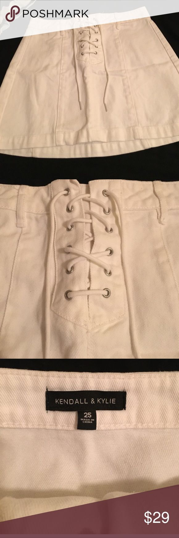 New Kendall & Kylie white lace up skirt! Sz 25 Cute trendy Kendall & Kylie white lace up skirt!! A summer must have!! Never worn! Size 25! Summer skirt; summer clothes are these best! Wear with sandals, booties, boots or tennis shoes! Kendall & Kylie Skirts Mini