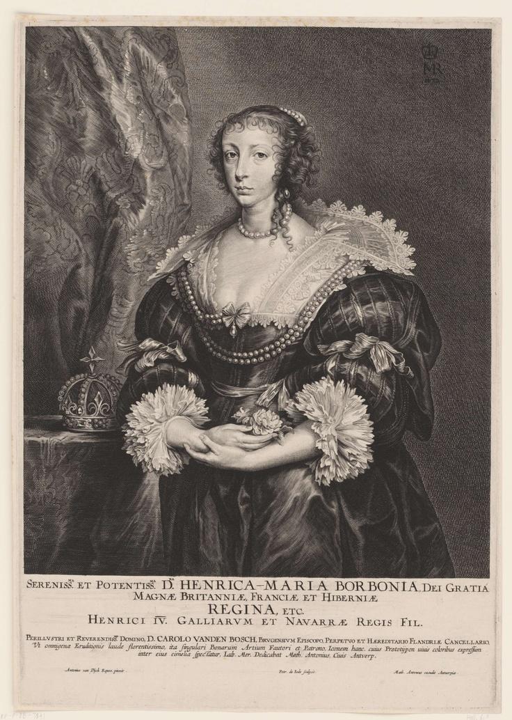 Henriette Maria, koningin van Engeland, door: Pieter de Jode (II), 1628 - 1670.