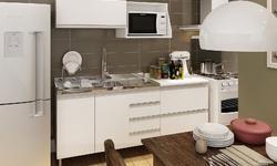 Cozinha Modulada Completa com Balcão para Pia, Balcão 2 Gavetas, Armário Aéreo e Suporte para Micro-ondas em MDF Gris/Branco/Rústico/Marrom ...