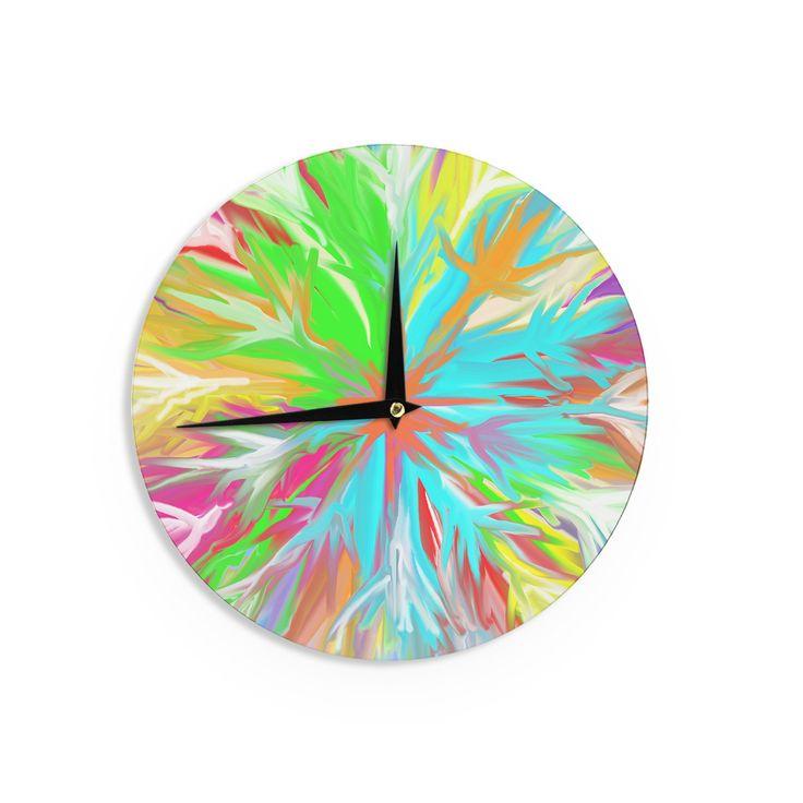 """Dan Sekanwagi """"Tropical Paradise"""" Rainbow Abstract Wall Clock"""