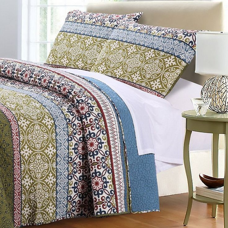 Bohemian Boho Mandala Blue Green 100% Cotton Reversible 3 Piece Quilt Set Enjoy a Bohemian style bedroom decor with this unique colorful pattern Boho bedding set. Wrap yourself in Super Soft premium 100 percent Cotton for the ultimate Comfort. Amazing quality bedding with Vibrant Colors! Only the best quilts are made of 100% Cotton Cover & Fill and becomes Softer wash after wash. Boho inspired printed Mandala pattern quilt comforter set done in trendy colors of Blue, Sage Green almo...