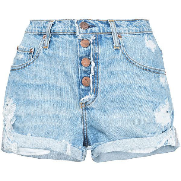 Nobody Denim Boho Short Exposed Spiritual ($149) ❤ liked on Polyvore featuring shorts, blue, relaxed shorts, bohemian shorts, short shorts, button fly shorts and relaxed fit shorts
