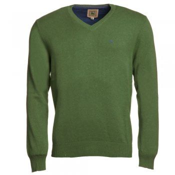 A grass green cotton Magee jumper. We use melange yarns for colour and textural interest. Features include - v-neck, rib cuff and hems and a contrasting embroidered wolfhound on the chest.