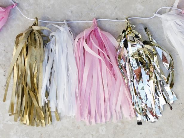 tissue paper tassel garland diy tutorial