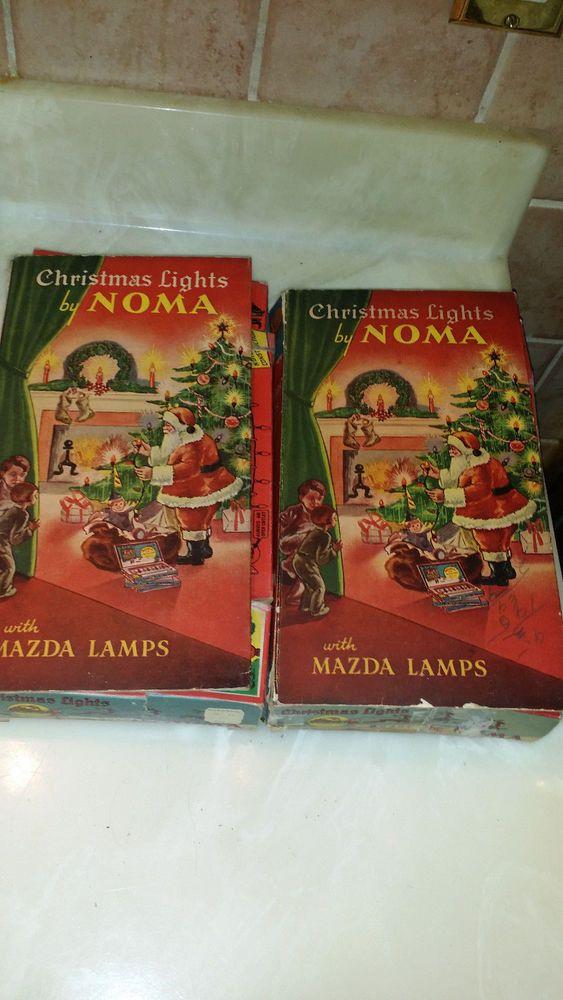 Vintage 1939 Noma Christmas Lights w/Mazda Lamps Box w/String  #Noma