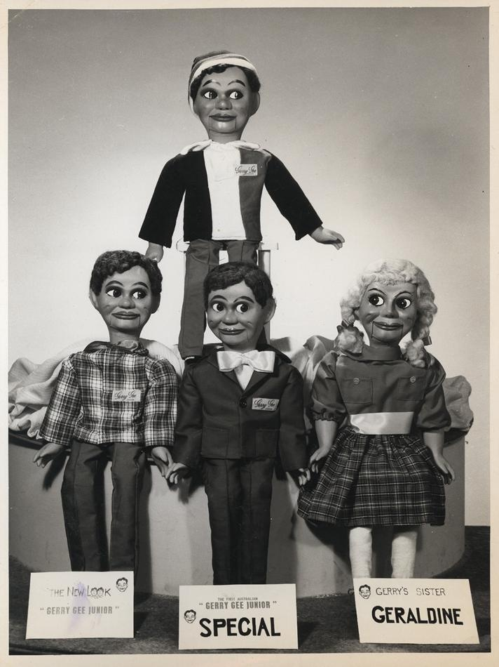 Photograph - L. J. Sterne Doll Co., Three Gerry Gee Junior Dolls & Geraldine Gee Doll, Melbourne, Victoria Australia circa (I think the Gerry at the back is in AFL Footie team gear !) 1964