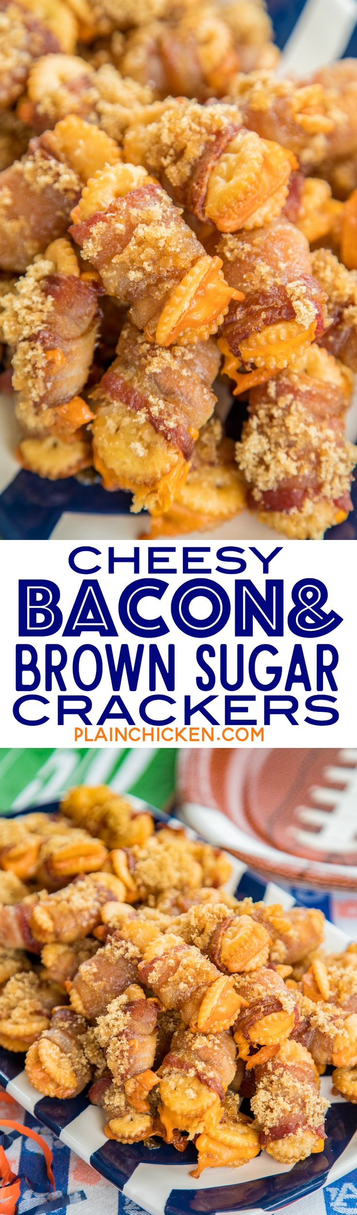 Cheesy Bacon and Brown Sugar Crackers - so good! You can't eat just one!!! Townhouse crackers stuffed with cheddar cheese, wrapped in bacon and topped with brown sugar. These are always a hit at parties!!! Sweet and Savory in every bite! #bacon #appetizers #tailgating