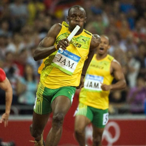 Usain Bolt. At the 2008 Beijing Olympics, the Jamaican sprinter broke the world and Olympic records in both the 100-meter and 200-meter events. He also set a 4×100-meter relay record with the Jamaican team, making him the first man to win three sprinting events at a single Olympics since Carl Lewis in 1984.
