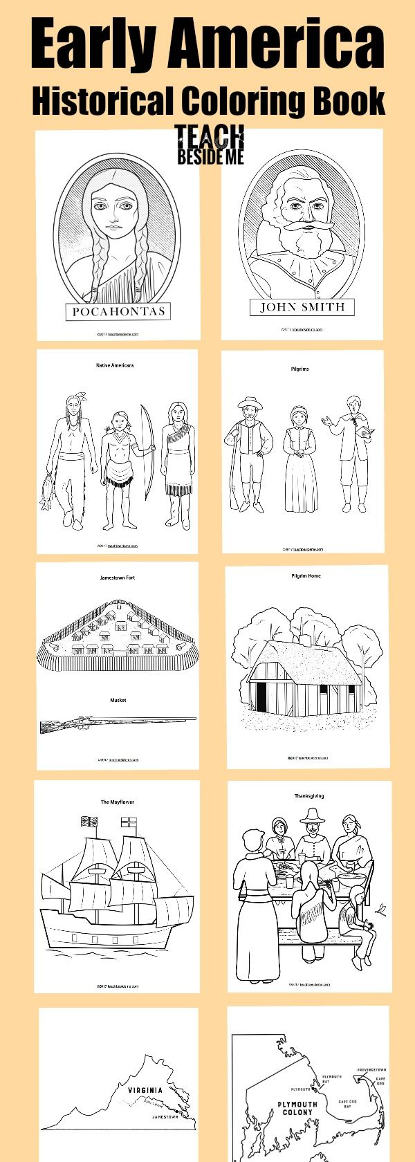 Historical Early America Coloring Pages- Great for Thanksgiving or US history units #history #thanksgiving #americanhistory #america #pilgrims #nativeamericans via @karyntripp