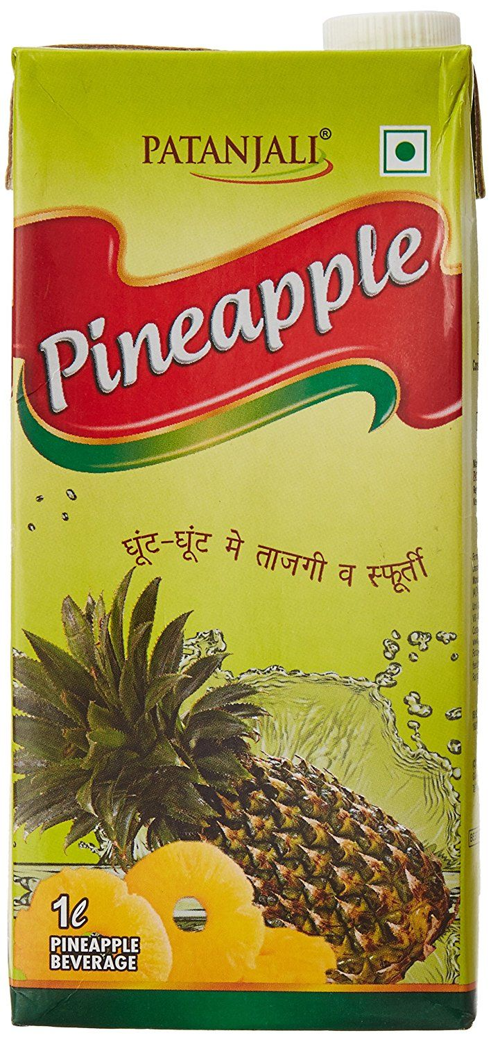 #Patanjali Pineapple Juice 1 liter. A product of Patanjali Ayurved Limited. Ready to serve fruit drink contains fruit juice without any preservative. Taste best when served chilled. #Price Rs.85
