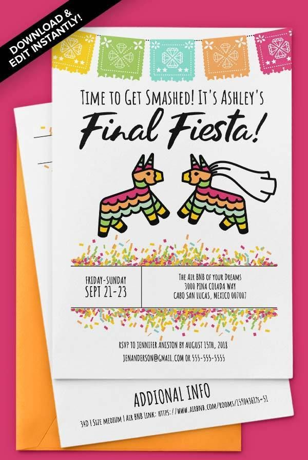 Final Fiesta 5x7 Invitations Instant Download Easily Editable