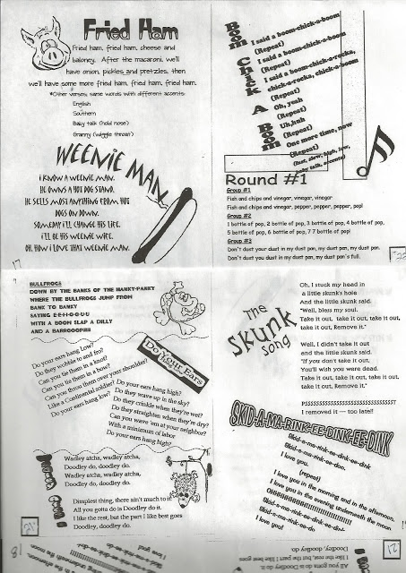 Girls Camp 7- Camp songs. This has my favorite camp song: Weenie Man!!! Yay!!!