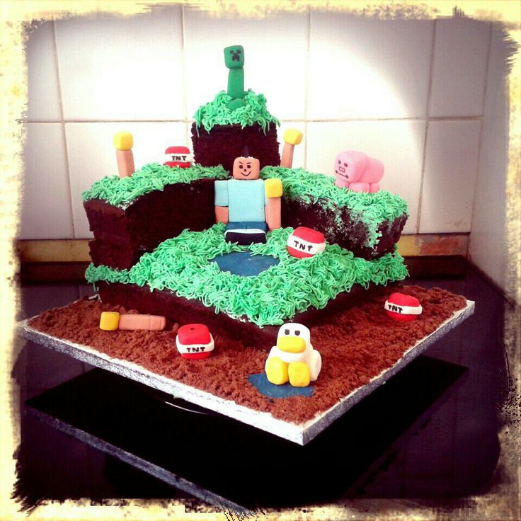 Minecraft cake for my stepsons 13th birthday