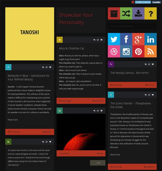 This masonry Tumblr theme has a flat design, a responsive layout, Disqus Comments, support for all post types, Google Analytics compatibility, custom CSS support, social media icons, CSS3 and HTML5 code, and more.
