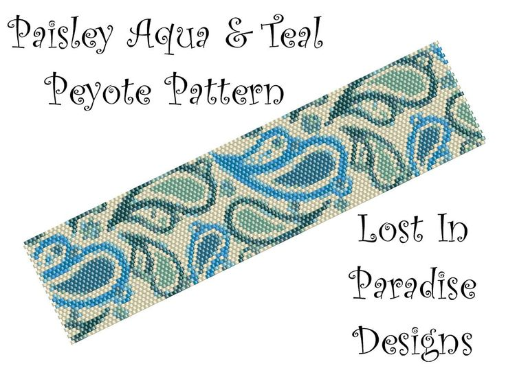 Peyote Bracelet Pattern - Paisley Teal & Aqua - Peyote Stitch Pattern (Buy any 2 and get one Free). $6.50, via Etsy.