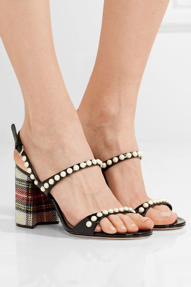 Heel measures approximately 85mm/ 3.5 inches Black patent-leather, multicolored tweed Buckle-fastening ankle strap Made in Italy