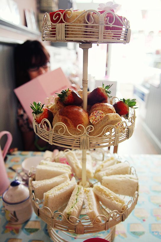 tea party at the Bake-A-Boo tearoom in North London