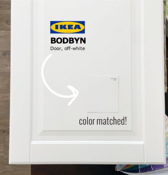 Ikea-Bodbyn-cabinets-color-matched Soft Wool (24-1B) from Valspar for Ace is it! Benjamin Moore's Cloud White was very close, but just a smidge too light.