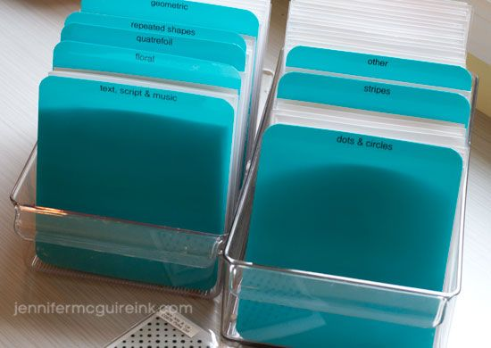 Background Stamp Storage Video by Jennifer McGuire Ink. Using a freezer/fridge drawer and plastic folder cut to make dividers....neat idea.