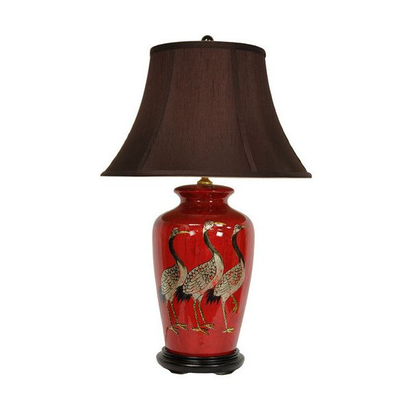 Oriental Furniture 26-inch Red Crowned Cranes Vase Lamp ($219) ❤ liked on Polyvore featuring home, lighting, incandescent lights, asian lighting, asian lamps, bulb light and red shade