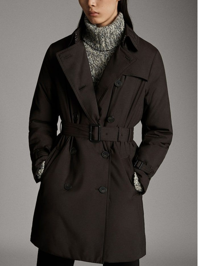 Black Slightly Quilted Trench Coat Women Massimo Dutti In 2020 Trench Coats Women Coats For Women Coat