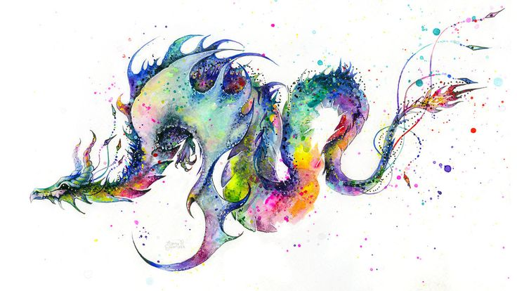 dragon tattoo sketch by TanyaShatseva. not with so many colors but pretty awesome :3