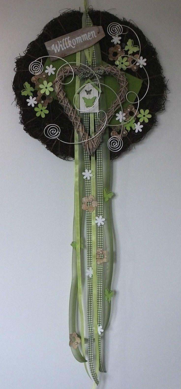 Türkranz, Türschmuck, Willkommen, Herz, Frühling, Sommer, grün in Möbel & Wohnen, Dekoration, Außen- & Türdekoration | eBay