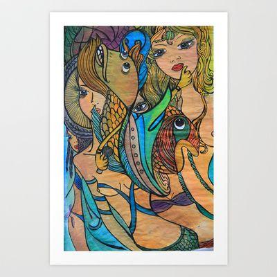 Mermaids Art Print by Valerie Parisius - $17.00 www.valerieparisius.com