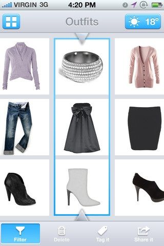123DressMe: iPhone app that creates a virtual closet of your clothes to help with shopping and choosing outfits. Fab!